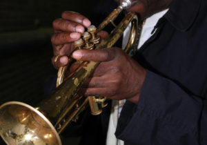 Playing the trumpet