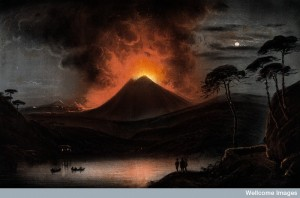 V0025183 A volcano (Mount Etna?) erupting at night. Coloured aquatint