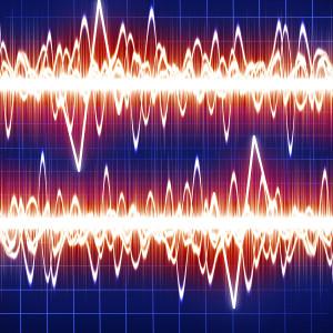 brain waves on a dark blue background
