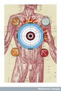 B0003930 Illustration depicting the body as a target Credit: Matthew Herring. Wellcome Images images@wellcome.ac.uk http://wellcomeimages.org Illustration depicting the body as a target. This could indicate environmental assault with various chemicals and environmental stresses, or the precise targeting of medications to diseased parts. Digital artwork/Computer graphic Published: - Copyrighted work available under Creative Commons by-nc-nd 4.0, see http://wellcomeimages.org/indexplus/page/Prices.html